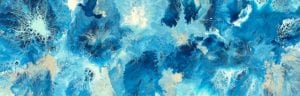 Blue Silver White Abstract Art