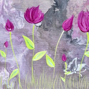 Roses - abstract modern art acrylic paintings