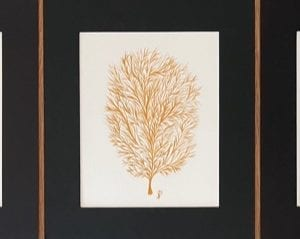 Gold Coral Triptych in Watercolour