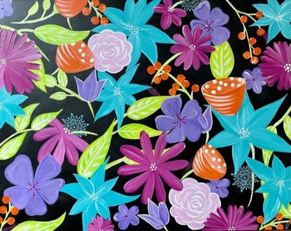 Pink Turquoise Orange Purple Green Black Floral Painting