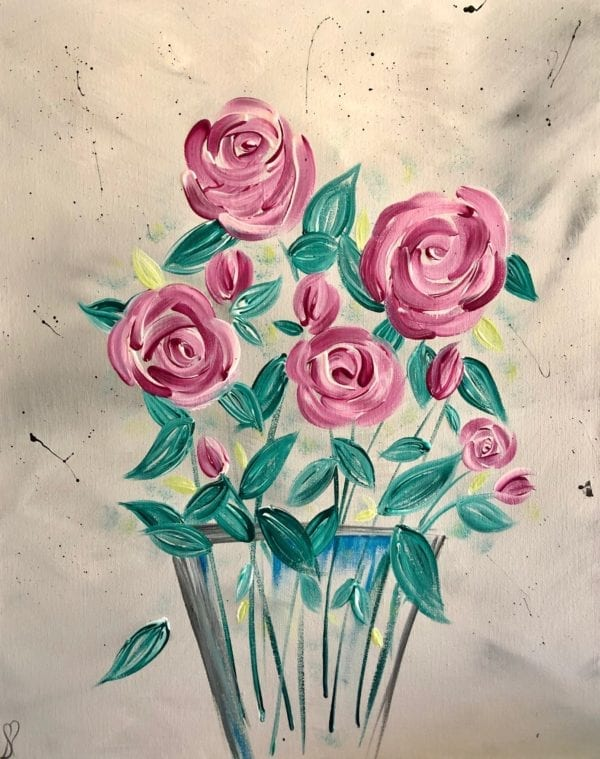 English roses modern floral painting 1
