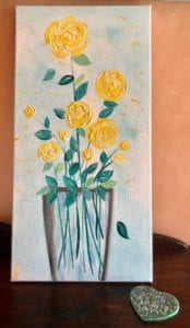 Yellow roses modern floral painting 6