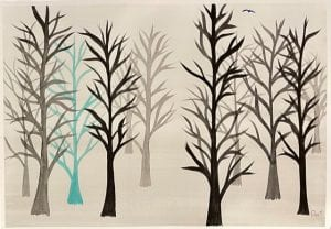 Snowy Forest Watercolour Winter Trees Painting