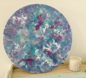 Funky flowers round canvas
