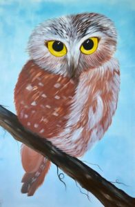 Wise Owl Original Large Painting