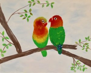 Lovebirds Original Canvas Painting