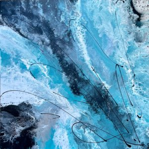 Modern abstract turquoise painting